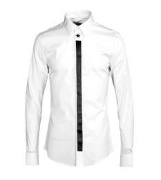 Decoraciones de estrellas de plástico online-La nueva camisa de los hombres de la decoración del plástico de cinco estrellas de la presión 2018 es párrafos de cuatro estaciones del muchacho de la ciudad al por mayor original