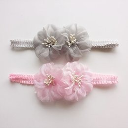 Wholesale Hair Beads For Girls - Mesh Yarn Flowers Headband with Lovely Beads Stamens Girls Turban Hair Oraments Headwear for Sweet Princess Hair Accessories