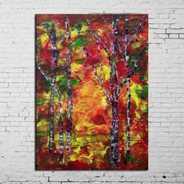 Arco-íris da lona da pintura a óleo on-line-Mais Populares de Alta Qualidade Artesanal Único Abstrato Rainbow Trees Pintura A Óleo Sobre Tela Para Sala de estar Decoração