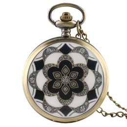 Wholesale Bronze Items - Elegant Bronze Case Black & White Flower Design Pocket Watch Necklace Pendant Clock Gift for Women Girls Vintage Item Children