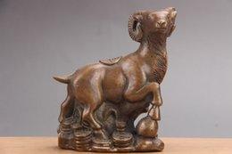 pecora d'ottone Sconti Squisite sculture cinesi fatte a mano di ottone e pecora