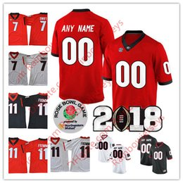 Wholesale Roses Names - Georgia Bulldogs Custom College Football Jerseys Any Name # 4 Hardman Jr. 11 Fromm 27 Nick Chubb Rose Bowl 2018 Championship Black Red White