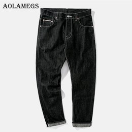 Wholesale Flashing Pants - Aolamegs Biker Ripped Jeans For Men Flash Black Pants Mens Selvage Skinny Jeans Brand Baggy Denim Cotton 2017 Trousers Bottoms