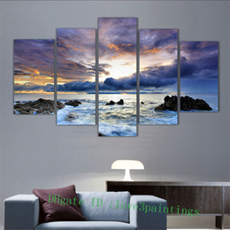 Wholesale Landscape Ocean Oil Painting - Ocean Seascape -1,5 Pieces Home Decor HD Printed Modern Art Painting on Canvas (Unframed Framed)