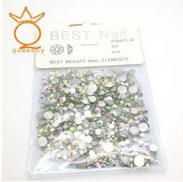 Wholesale hot fix nail art - Queency Non-hot fix rhinestone nails rhinestones strass crystal Mix size ss3-ss30 1440pcs bag with With card head nail art stone