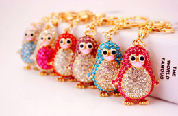 Wholesale penguin key chain - 6 Colors Penguin Keychains Keyring - Crystal Rhinestone Women Keychain Key Chain Ring Holder Bag Charm Keyring Jewelry Wedding Favor