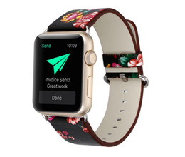 Wholesale nationals band - National style Floral Printed Leather Watch Band Strap for Apple Watch Flower Design Wrist Watch Bracelet for iwatch 38mm 42mm