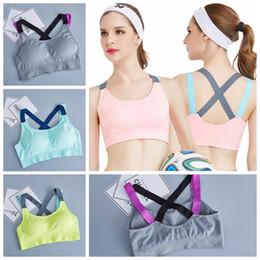 Wholesale nursing pad washable - Cross Straps Yoga Bras Push Up Sports Bra Gym Running Fitness Padded Bras Athletic Vest Sport Underwear Maternity Intimates OOA5289