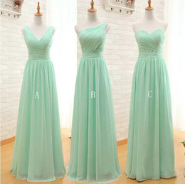 Wholesale New Mint Green Bridesmaid Dress - New 3 Styles Mint Green Long Chiffon Bridesmaid Dress 2018 Cheap A Line Pleated Floor-length Bridesmaid Dresses Under 100