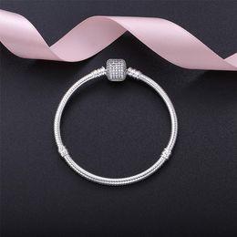 Стерлинговый серебристый бисер онлайн-Стерлингового серебра женщин браслеты с коробкой Белый микро проложили CZ Алмазный браслет логотип штамп для Пандора европейских прелести шарик