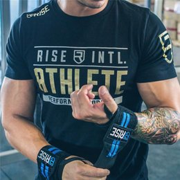 Wholesale Crossfit Clothing - Mens Summer gyms Fitness brand T-shirt Crossfit Bodybuilding Slim Shirts printed O-neck Short sleeves cotton Tee Tops clothing