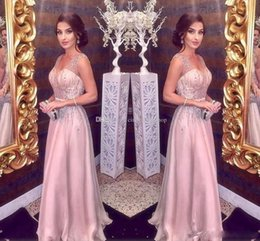 coral rosa lantejoulas vestido de baile Desconto Cristal Sexy Frisada A Linha Vestidos De Noite Lantejoulas Beading Elegante Blush Rosa Longo Prom Drui barato