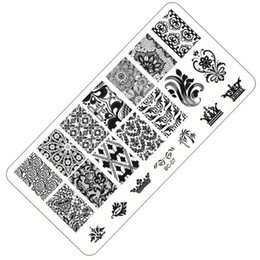 Wholesale Laced Nail Stamp Designs - New Lace Design Nail Stamping Plates Nail Art Image Stampping Art Plates Manicure Template Tool #BC-07