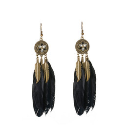 Wholesale Round Feather Earrings - European & American Style Feather Earring Jewelry Feathers Round Disc Dangle Hook Earrings for Women 2 Colors Free Shipping D928S