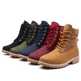 Cargadores militares del invierno de los hombres online-Hombres otoño invierno mujeres militares botas exterior cabeza zapatos mujer tamaño casual femenino corto Martin Boot
