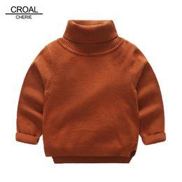Wholesale Toddler Girls Turtlenecks - CROAL CHERIE 80-130cm Turtleneck Boys Knit Sweaters Children Winter Clothes Girls Tops Winter Kids Clothes Toddler Sweaters