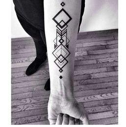 Autoadesivo del tatuaggio temporaneo impermeabile grande quadrato del tatuaggio del totem del rombo autoadesivi di tatto della fiamma flash tatuaggi falsi di tatoo per gli uomini da