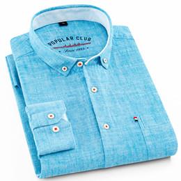 a26aa7921de 2018 Summer New Design Cotton Linen Breathable Business Casual Men Shirts  Long Sleeve Button-down High Quality Blue Mens Shirts