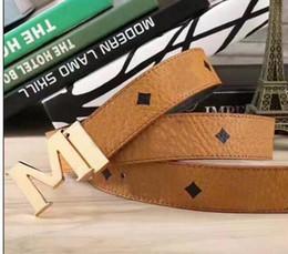 Wholesale Gold Belts For Men - M buckle Fashion brand Belts High Quality Designer Luxury Belt For Men And Women Genuine Leather Belt Gold Silver Buckle