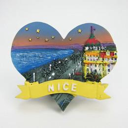 Wholesale nice old - France Nice Tourism Souvenir Fridge Magnets Creative Heart-shaped Refrigerator Magnetic Message Stickers Home Decor Decoration