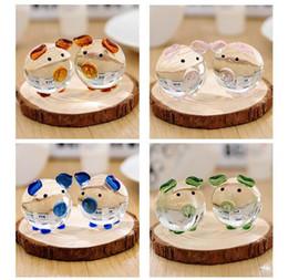 figurine di raccolta Sconti 1 paio di figurine in vetro cristallo maiale fermacarte artigianato collezione d'arte souvenir - regali di compleanno bomboniere regali per bambini