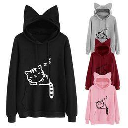 Wholesale animal hoodies ears - Kawaii Cat Ear Hoodies Women Cute Cartoon Sleeping Cat Print Hooded Sweatshirt Casual Loose Pullover Tracksuit Outerwear
