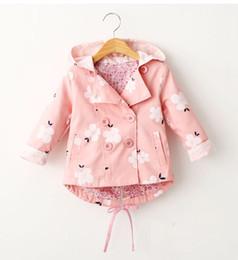 Vestiti coreani del capretto invernale online-Neonate Cappotto Moda Bambini Fiore stampato Trench Coats coreano Autunno Inverno Bambini Giacca con cappuccio Ragazza Top Abbigliamento bambini 2 colori