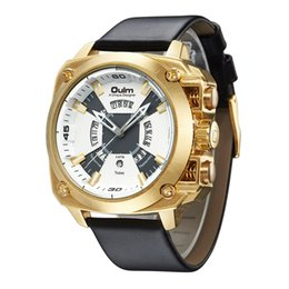 OULM мужчины спортивные часы корпус из нержавеющей стали Кожаный ремешок авто дата Кварцевые наручные часы от