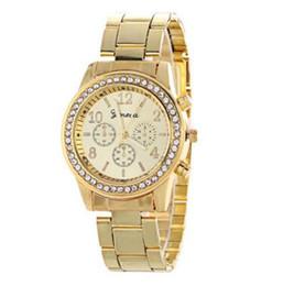orologi del diamante di ginevra del mens Sconti Le donne ginevra in lega di acciaio metallo orologio moda di lusso signore vestito di diamanti al quarzo regalo analogico mens orologi 3 colori 10 pezzi