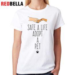 Manos temblando dibujos animados online-Camiseta de mujer Redbella Ropa de Mujer Tumblr Shake Hands Animal Dogs Camiseta de dibujos animados Camiseta Femme Impresión Algodón Casual Tops blancos Camiseta Hipster