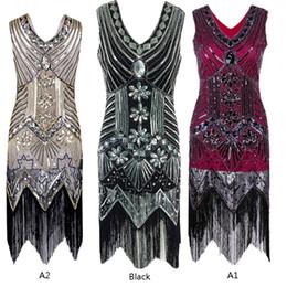 Wholesale Gatsby Costumes - Hot Flapper Dress Great Gatsby Vintage Sequin Costume 20s Charleston Fringe BMML
