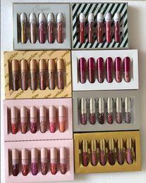 Wholesale boxes set - Gold Silver Pink Box lipgloss Kit Cosmetics Liquid Matte Kelly Lipstick Birthday Limited Holiday Valentine Send me more nudes Lip gloss Set