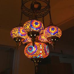 2019 24 zoll rundes glas Europäische Duplex lange Kronleuchter retro romantische Cafe Hotel KTV Restaurant Mosaik Lampenschirm handgemachte mediterrane dekorative Kronleuchter