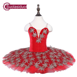Concorrenza di ballo online-Ragazze Red Professional Tutu di balletto Stage Wear Bambini Classici Balletto di danza Performance Competition Costumi Adult Ballet Skirt Apperal
