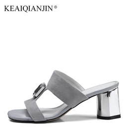 KEAIQIANJIN Summer Genuine Leather High Heels Shoes Fashion Pink Sandal  Plus Size 33 - 43 Black Sexy Woman Crystal Slipper 2018 27fe66385822
