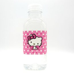 Wholesale Shower Baby Bottle - 12pcs Hello kitty label bottle label kids birthday party decoration kitty water bottle label birthday party baby shower decor