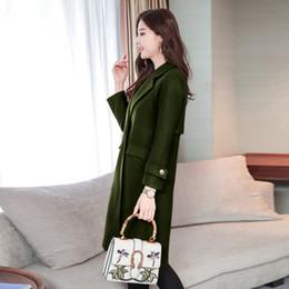 Wholesale Women Winter Work Coats - High Quality 2018 Free Shipping New Winter Fashion Wool Coat Slim Long Woolen Women Work Wear Fashion Coats