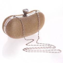 Goldschalenkupplung online-Fashion Crystal Solid Damen Abend Party Clutch Hochzeit Braut Handtasche Metall Hasp Flap Bag Shell Bag Schulter Messenger Kette