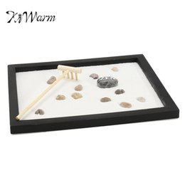 Wholesale Plants Sand - Kiwarm Zen Garden Sand Kit Tabletop Yoga Meditation Sand Rocks Rake Feng Shui Decor Home Ornament Crafts