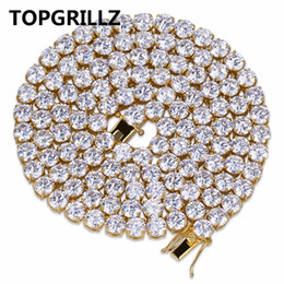 "Wholesale Men Micro - whole saleTOPGRILLZ Hip Hop All Iced Out Necklace 1 Row Micro Pave CZ Stones Tennis Chain Necklaces For Men & Women 20"",24"",30"""