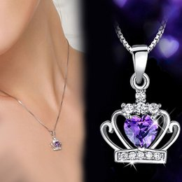 Wholesale crown shaped necklace - New Women's Fashion Silver Plated Princess Crown Necklaces Pendants Heart Shape Zircon Choker Necklace Chain Jewelry Gifts P230