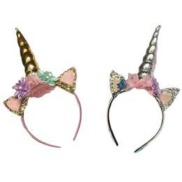Halloweern navidad Magical Unicorn lentejuelas oreja linda Cabeza Partido Cabello Pelo de la flor Diadema Vestido de Cosplay Decorativo desde fabricantes