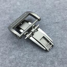 Cierre de despliegue negro online-20 mm plateado de lujo negro de alta calidad cepillado hebilla de cierre de despliegue para correa de banda de Richad Mile