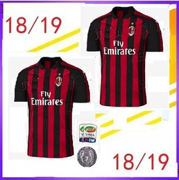 Wholesale Kaka Milan - Top Thai quality 18 19 AC Milan Home red black soccer jersey 2018 2019 CALHANOGLU ANDRE SILVA BACCA KAKA SUSO BONUCCI away football shirts