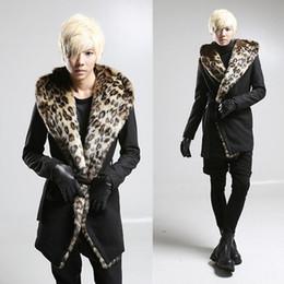 Discount men leopard belt - Winter men korean warm hooded trench coat sobretudo masculino men woolen nightclub DJ singer cloak punk overcoat with fur collar