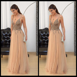 Wholesale Long Maternity Summer Dresses Bohemian - Sexy Deep V Neck Champagne Beaded Prom Dresses 2018 Spaghetti Straps A Line Bohemian Formal Long Evening Gown Arabic Plus Size Pageant Wear