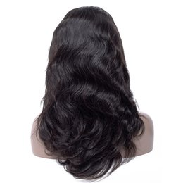 Pelucas virgen del pelo para las mujeres negras online-Pelucas brasileñas al por mayor del pelo humano de la onda del cuerpo de la Virgen para las mujeres negras pelucas delanteras del cordón ajustables pelucas frontales del cordón de Pre Plucked con el pelo del bebé