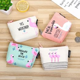 2018 New animal Style portamonete portamonete donne piccole borse di tela Cartoon Flamingo Money Key titolari Pouch Zipper Bag.20pcs / da