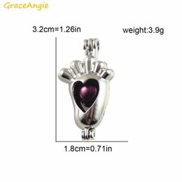 Wholesale bead treasures - GraceAngie 2PCS Cute Baby Foot Cage Locket Shiny Silver Color Alloy Openable Small Pendant Treasure Bead Holder Handmade Finding
