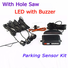 Wholesale free system monitoring - Viecar Car Parking Sensor Kit 4 Sensors 22mm Backlight LED Display Reverse Backup Radar Monitor System Free Shipping